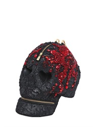 Manish Arora Faux Fur Skull Clutch With Crystals