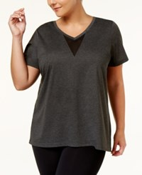 Material Girl Active Plus Size Open Back V Neck Top Only At Macy's Heather Charcoal
