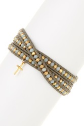 Chan Luu Cross Charm 18K Gold Plated Sterling Silver Nugget And Amazonite Beaded Leather Wrap Bracelet Green