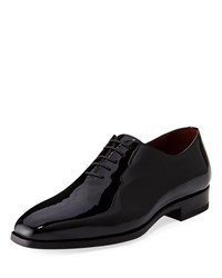 Magnanni One Piece Patent Leather Oxford Shoe Black