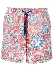 Etro Paisley Print Swimming Trunks Red