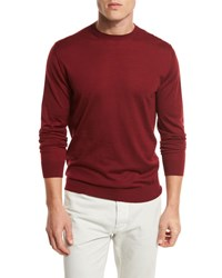 Ermenegildo Zegna High Performance Merino Wool Crewneck Sweater Medium Red Md Red Sld