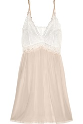 Mimi Holliday Mr Whippy Lace Paneled Silk Chiffon Chemise Pink