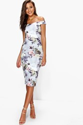 Boohoo Rosie Bardot Floral Print Midi Bodycon Dress Multi