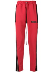 Represent Side Stripe Track Trousers Red