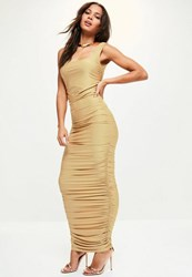 Missguided Gold Sleeveless Gathered Side Maxi Dress Camel