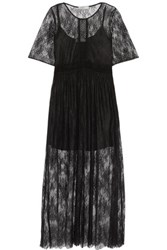 Sandro Pointelle Trimmed Chantilly Lace Midi Dress Black