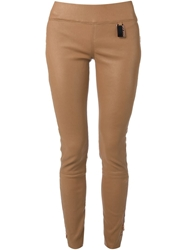 Thomas Wylde Zipped Skinny Trousers Nude And Neutrals
