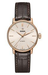 Rado Women's Coupole Classic Automatic Leather Strap Watch 31.8Mm Brown Rose Gold