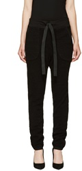 Denis Gagnon Black Ribbed Wool Lounge Pants