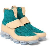 Nike Air Vapormax Leather And Flyknit Sneakers Emerald