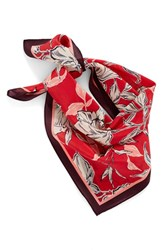 Halogenr Women's Halogen Bella Floral Square Silk Scarf Red Combo