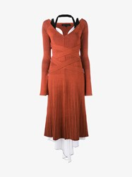Proenza Schouler Layered Wool Blend Ribbed Dress Orange Multi Coloured White Black