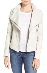Lamarque Women's Funnel Neck Moto Jacket Winter White