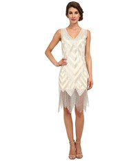 Unique Vintage Forster Beaded Flapper Dress Ivory Silver Women's Dress Metallic