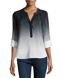 Milly Katalina Ombre Pleated Silk Blouse Black White