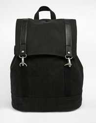 Asos Backpack In Black Canvas With Faux Leather Straps Black