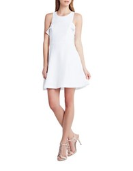 Bcbgeneration Georgette Ruffle Fit And Flare Dress White