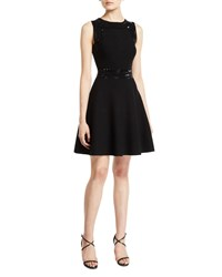 Milly Jewel Neck Sleeveless Embellished Fit And Flare Mini Dress Black