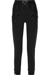 Monreal London Satin Jersey Paneled Stretch Crepe Track Pants Black