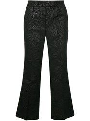 Essentiel Antwerp Textured Cropped Trousers Cotton Polyester Acetate Metal Black