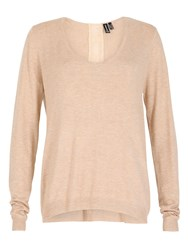 Izabel London Knit Top With Chiffon Panel And Bows Beige