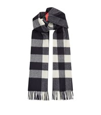 Burberry Shoes And Accessories Mega Check Cashmere Scarf Unisex Navy