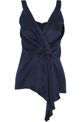 Victoria Beckham Wrap Effect Draped Silk Twill Top Midnight Blue
