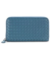 Bottega Veneta Intrecciato Woven Leather Wallet Blue