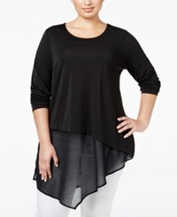 Alfani Plus Size Asymmetric Mixed Media Tunic Only At Macy's Deep Black