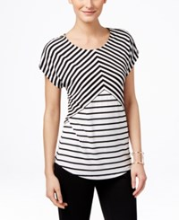 Inc International Concepts Striped Zipper T Shirt Only At Macy's Black And White Stripe