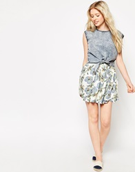 Bellfield Hawaii Print Skater Skirt White