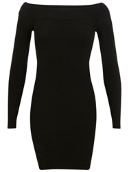 Miss Selfridge Ribbed Bardot Dress Black