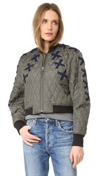 Bcbgmaxazria Lace Up Bomber Jacket Dark Olive
