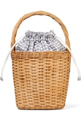 Edie Parker Lily Gingham Cotton Paneled Wicker Tote Beige