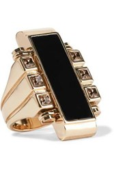 Lanvin Gold Tone Swarovski Crystal And Resin Ring Gold
