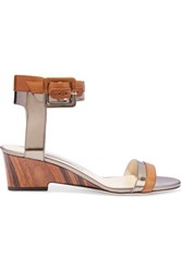Jimmy Choo Mansy Metallic Paneled Leather Wedge Sandals Tan