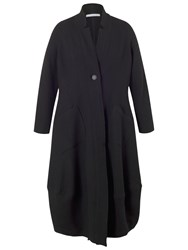 Chesca Notch Collar Boiled Wool Coat Black