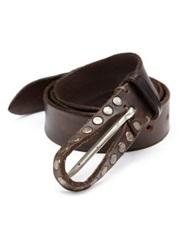Orciani Studded Leather Belt Dark Brown