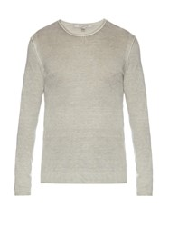 John Varvatos Crew Neck Silk And Cashmere Blend Sweater Light Grey
