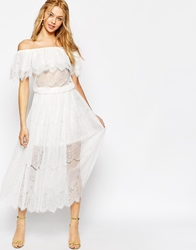Darccy Vintage Boho Lace Off Shoulder Maxi Dress Ivory