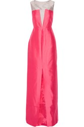 Raoul Carly Silk And Wool Blend Gown Bright Pink