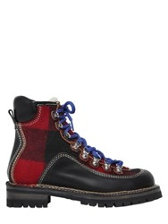 Dsquared 40Mm Leather And Plaid Wool Hiking Boots
