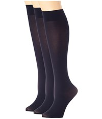 Hue Soft Opaque Knee High 3 Pack Navy Women's Knee High Socks Shoes