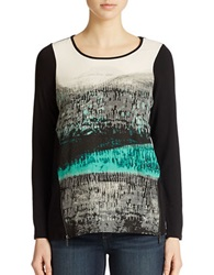 Kensie Printed Long Sleeve Top Black Combo