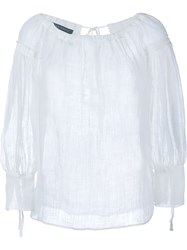 Alberta Ferretti Linen Long Sleeve Blouse White