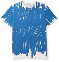 Balenciaga Slim Fit Printed Cotton Jersey T Shirt Cobalt Blue
