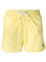 Burberry Brit Logo Embroidered Swim Shorts Yellow And Orange