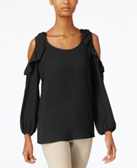 Ny Collection Ruffled Cold Shoulder Top Black