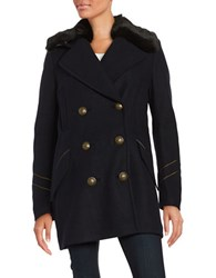 Free People Faux Fur Trimmed Double Breasted Pea Coat Blue